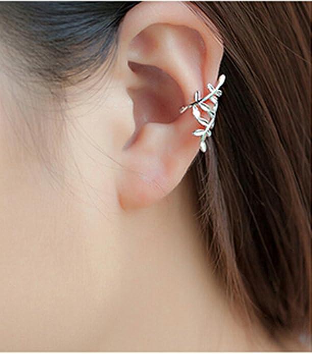 6ea285b58241 Joyería Gnzoe Pendientes Mujer 1 Par Plata Hoja Clip de Oreja Pendiente 925  Plata Piercing Falso Clips de Oído  Amazon.es  Joyería