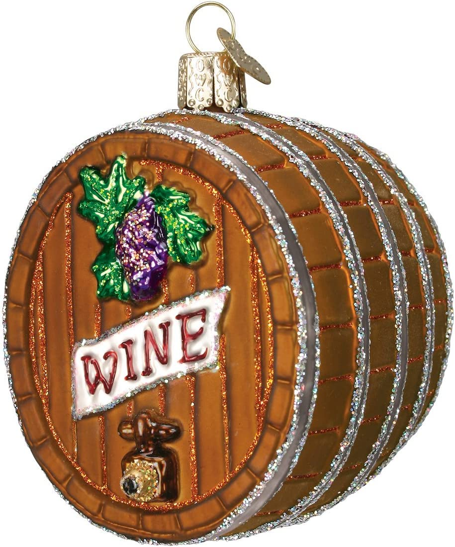 Old World Christmas Adult Beverages Glass Blown Ornaments for Christmas Tree Wine Barrel