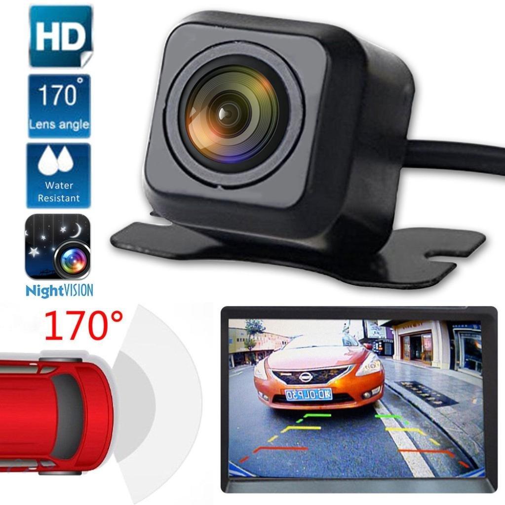 Quaanti New Arrival 170 Degree CMOS Waterproof Night Vision Car Rear View Reverse Backup Parking Camera HD (Black)