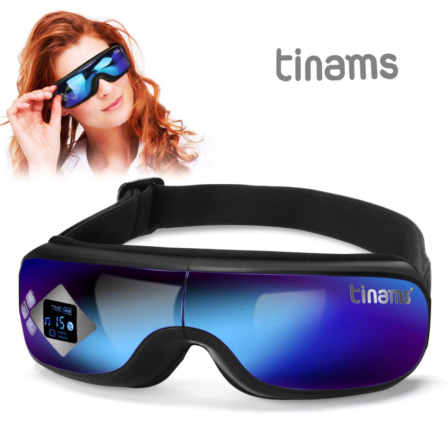 Tinams Electric Eye Massager with Graphene Heating, Smart Massage Eye Mask Portable Eye Massager for Dry Eye Eyestrain Fatigue Relief by tinams