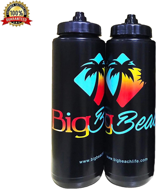 Big Beach Squeeze Sports 32oz Water Bottle - Anti Leak - 2 Pack