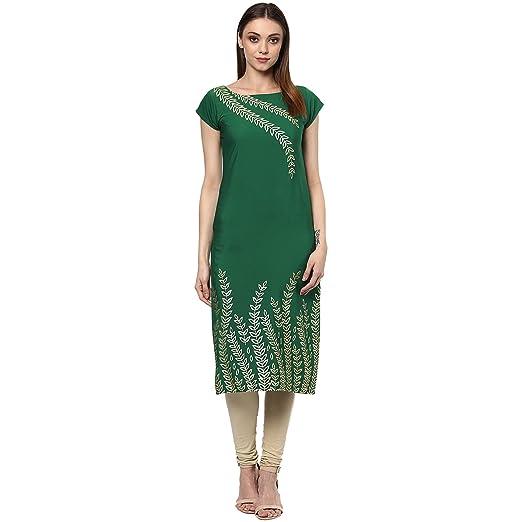 Ziyaa Green Colour Foil Print Crepe Casual Kurti Kurtas at amazon