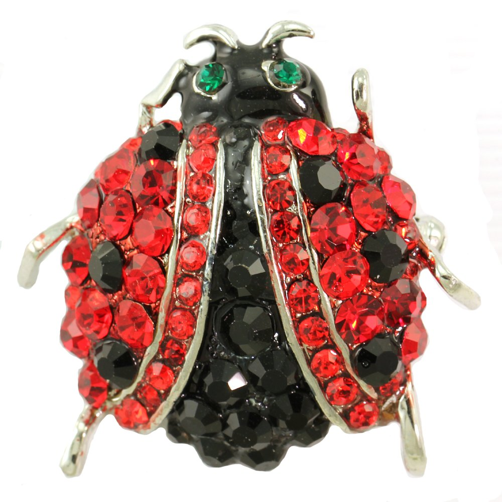 Adorable Red Ladybug Pin Brooch Black Spot Animal Jewelry Necklace Pendant Compatible