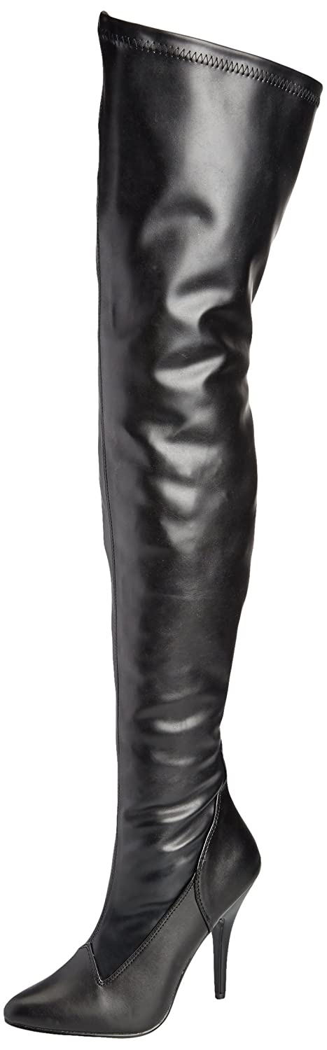 Deluxe Adult Costumes - Women's Pleaser Seduce-3000 Thigh High Black Faux Leather Boot