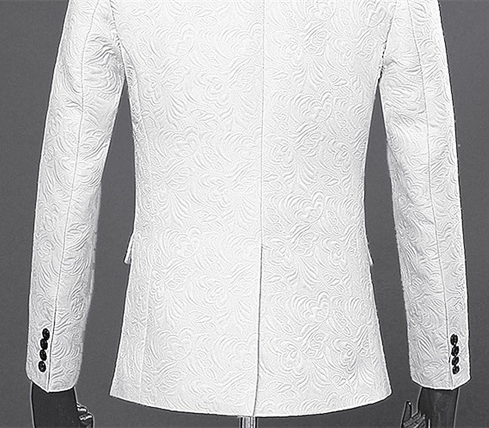 auguswu One Button Jacquard Weave Mens Slim Fit Tuxedos Jacket Vest Pants 3 Piece Sets