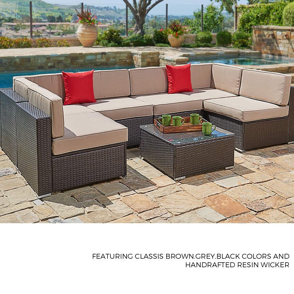 Suncrown Outdoor Furniture Sectional Sofa (4-Piece Set) All-Weather Brown  Checkered Wicker with Brown Washable Seat Cushions Glass Coffee Table Patio  ...