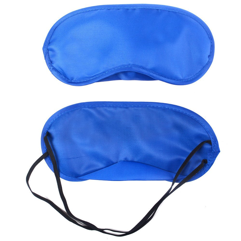 Hotcl Relax Eye Cover, Sleeping Mask Padded Shade for Woman and Men, Pure Silk Adjustable Eyeshade (Blue)