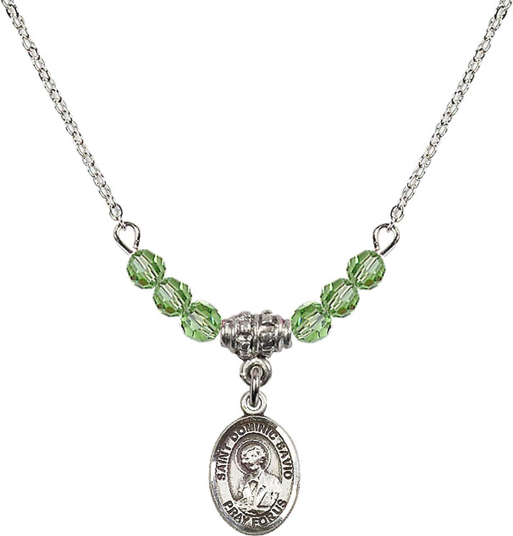 Bonyak Jewelry 18 Inch Rhodium Plated Necklace w// 4mm Green August Birth Month Stone Beads and Saint Dominic Savio Charm