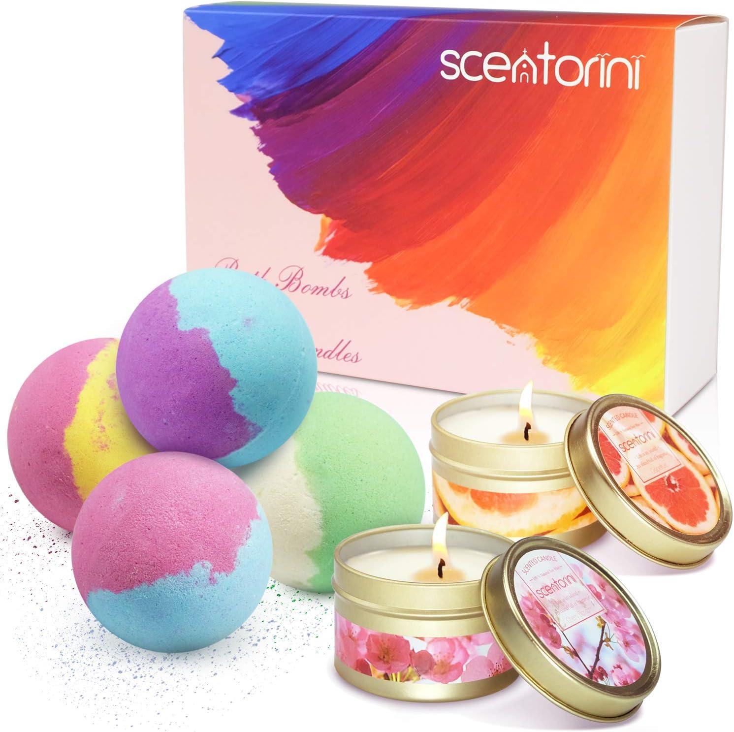 SCENTORINI Set de regalo Bath Bombs x Scented Candles, Bath Ball Natural Spa Kit para el cuidado y la relajación de la piel (4 x 118 g Bath Bombs + 2 x 75 g Velas perfumadas de cera de soja)