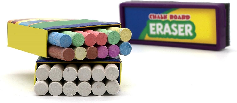 GREUS 12 Pcs Dustless Twistable Chalk Water Soluble Dust Free Chalk Colored Art Tool Graffiti Drawing Chalk Holder for Blackboard Whiteboard Children Kids School Teachers