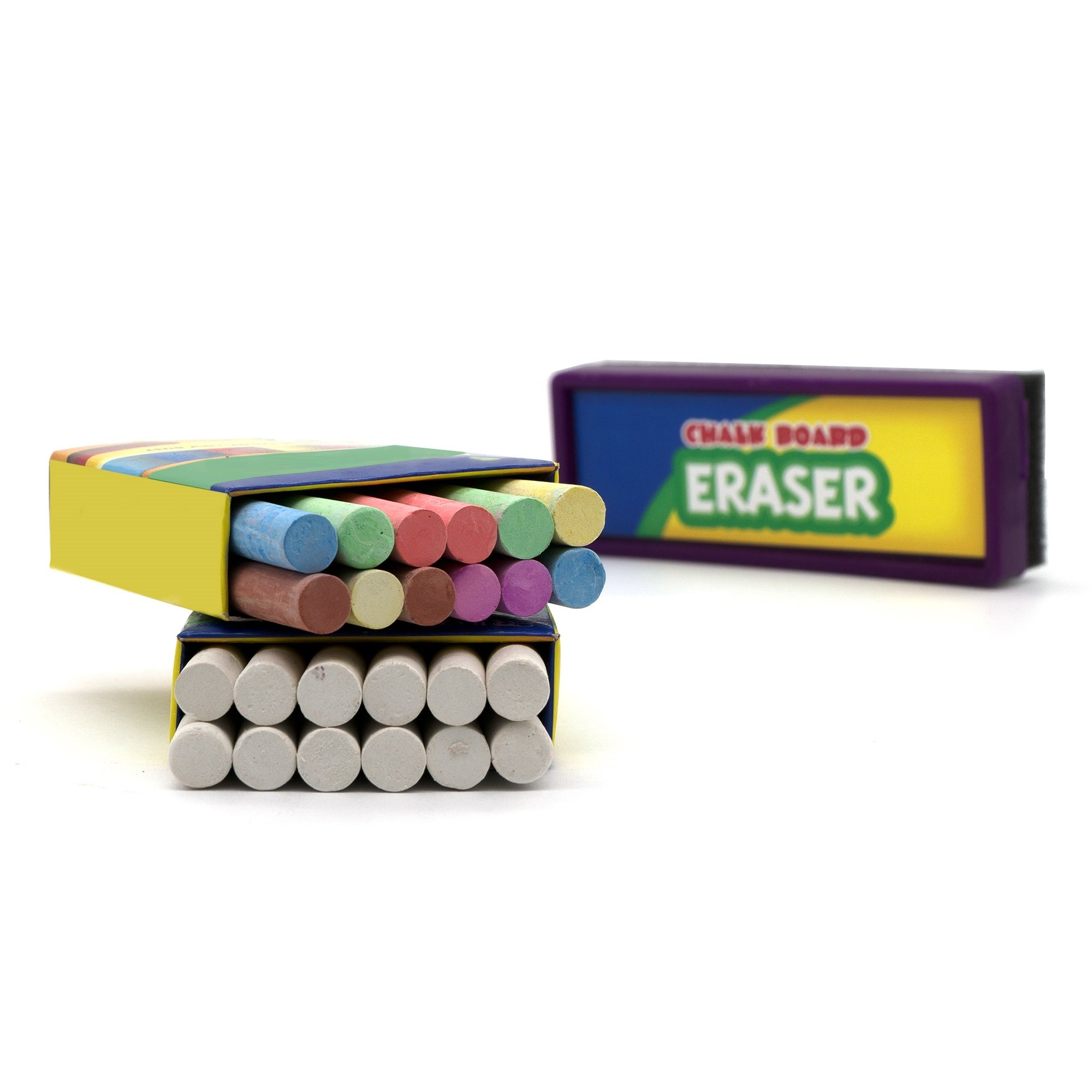 Emraw Eraser 12 White Chalk Dustless Chalk Non-Toxic 12 Color Chalkboard School Office and Sidewalk Outdoor Chalk Block Bundle for Art and Home Board Chalk with Eraser Pack of 25 by Emraw (Image #1)