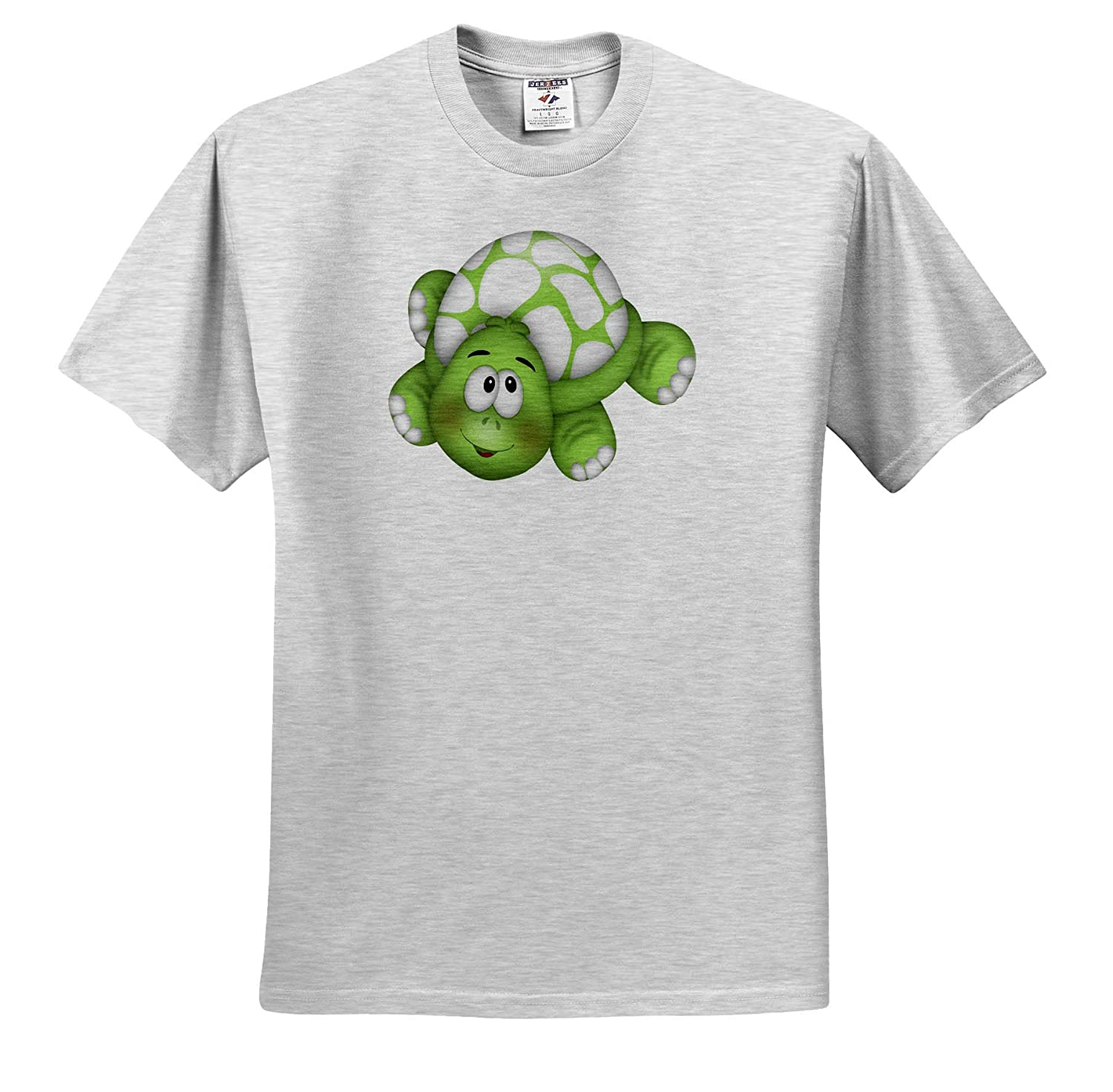 3dRose Anne Marie Baugh ts/_318020 Cute Green and White Happy Turtle Illustration Adult T-Shirt XL Illustrations