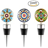 Sunbright Wine Bottle Stoppers for Gifts, Bar, Holiday Party, Wedding, FDA Approved, Set of 3