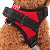 【Realpet】犬用ハーネス 小型犬 中型犬 大型犬 胴輪 引っ張り防止 愛犬の咳き込み軽減に ポリエステル製 通気性が抜群 3色4サイズ選択可能 (レッド S)