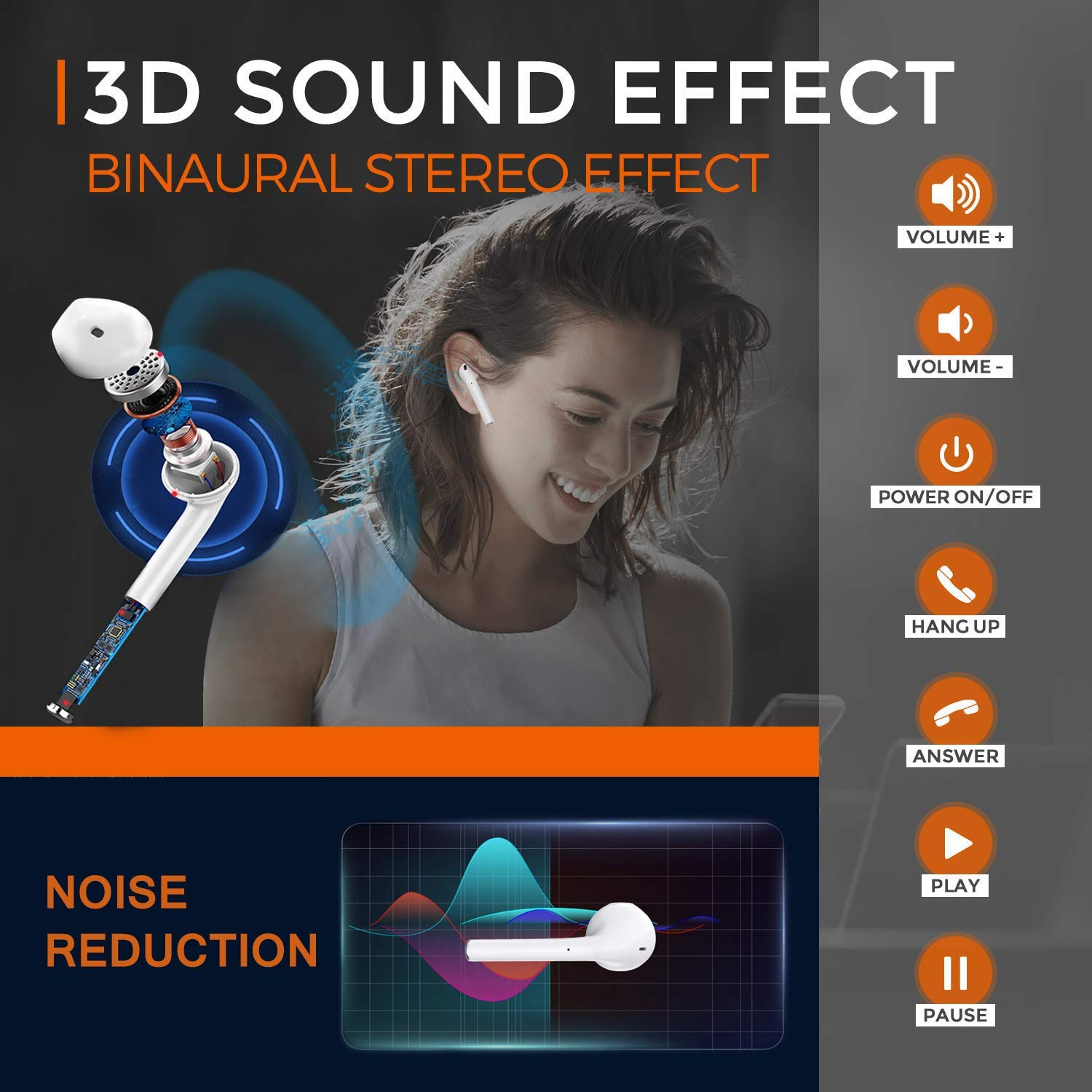 5.0 in-Ear Bluetooth Earphones Built-in Mic /& Touch Control 3D Stereo Sound Wireless Bluetooth Earbus for All Bluetooth Devices 2019 New Version Bluetooth Headphones Wireless Earphones