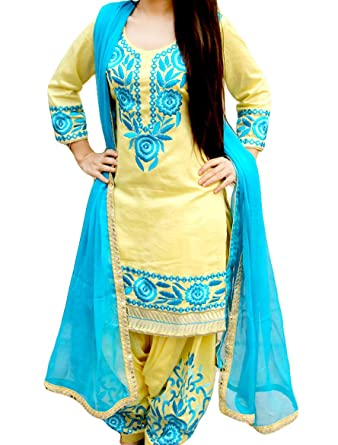 Mesmeric Lemon And Blue Embroidered Punjabi Suit Amazon In