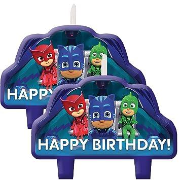 Amazon Com Amscan Pj Masks Birthday Cake Candles 8 Set Home