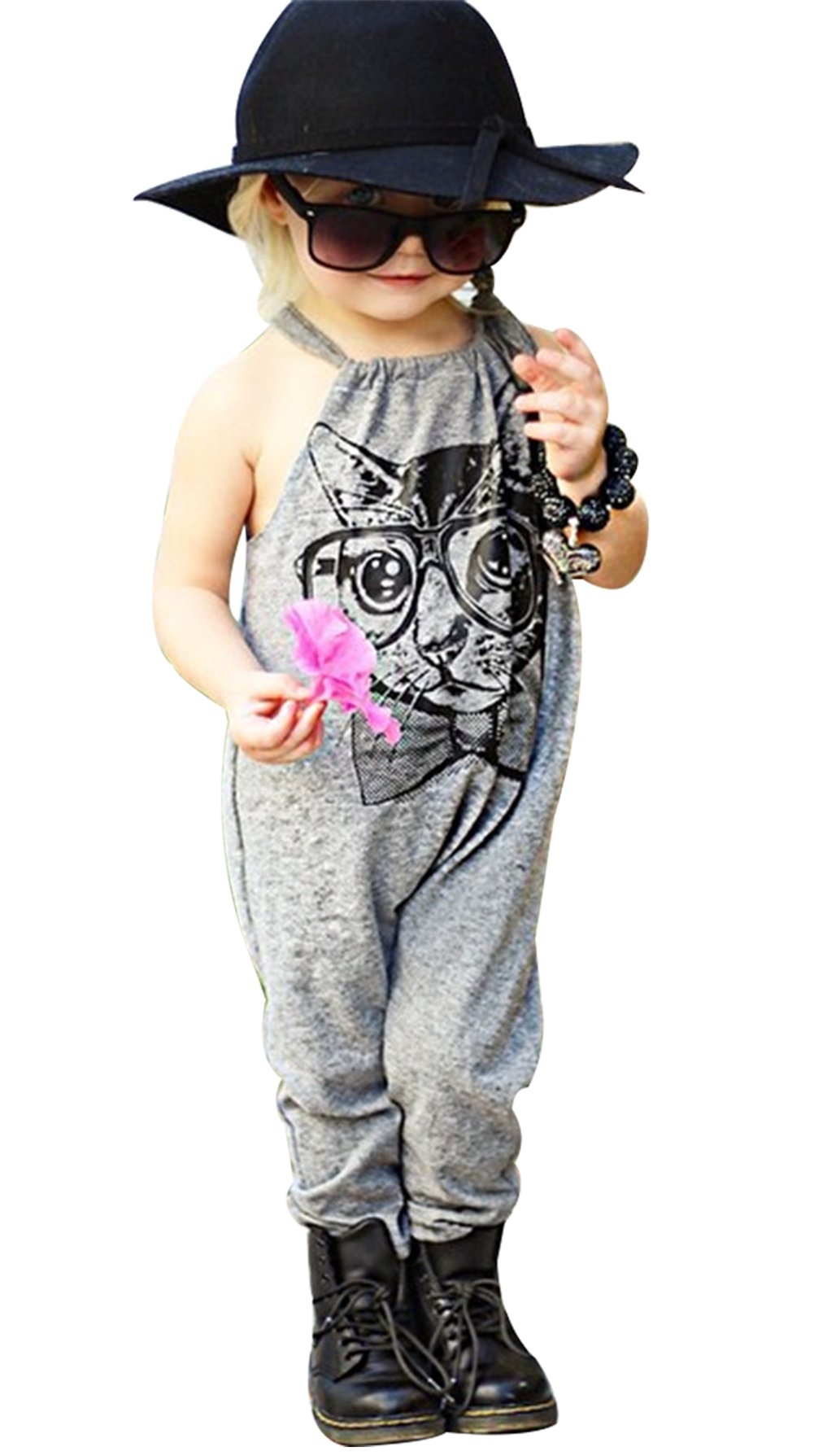 Little Baby Girls Cartoon Cat Polka Dot Print Straps Romper Harem Pants Jumpsuit Overalls Size 3-4Years/Tag110 (Gray)