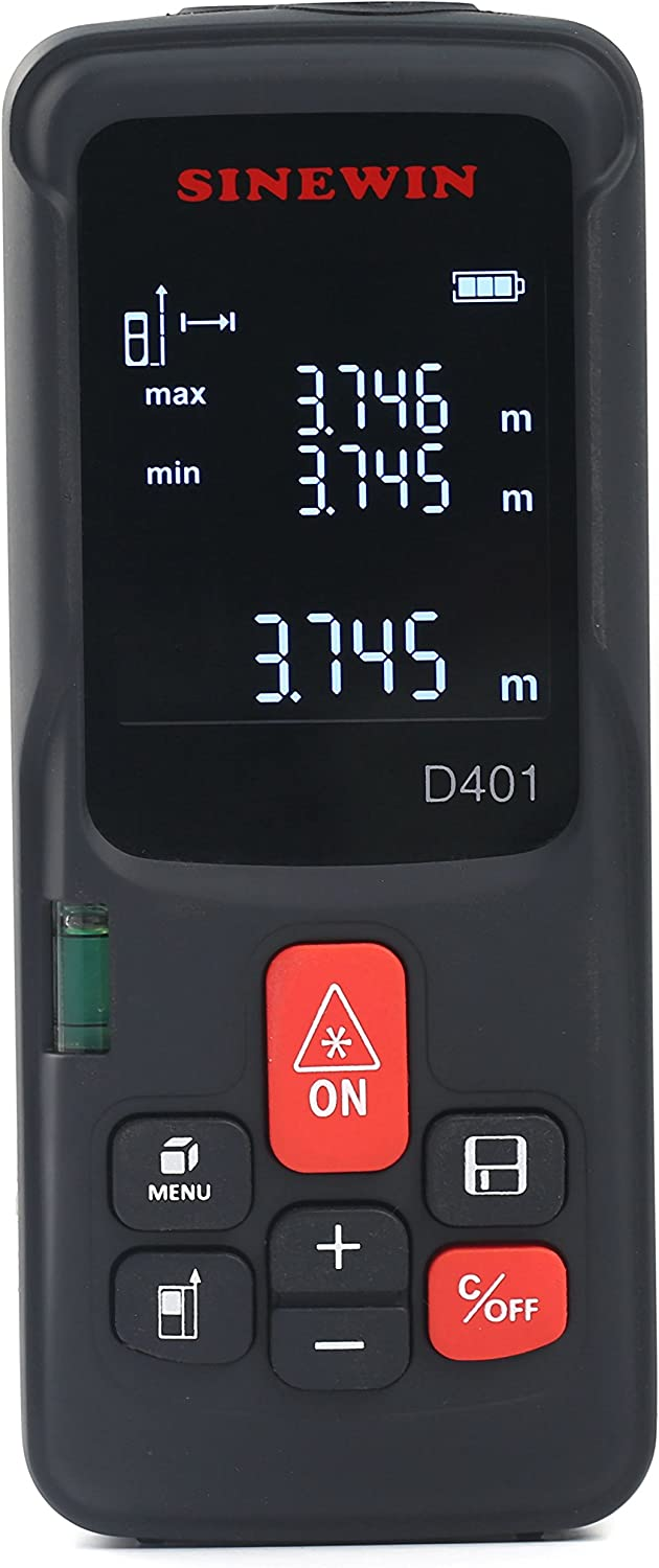 HC Laser Distance Meter Professional Laser Tape Measure 4 Measure History with Calculation 60 M - 196 ft with Large Back-lit LCD 4 Line Display Portable Handle Digital Measure