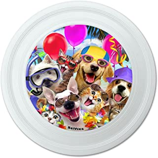GRAPHICS & MORE Graphique et Plus de Chiens Chats Beach Party Selfie Fantaisie 22,9 cm Flying Disc 9 cm Flying Disc
