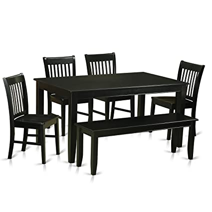 Amazon East West Furniture DUNO6 BLK W 6 Piece Dining Table And 4 Chairs With Bench Set Kitchen