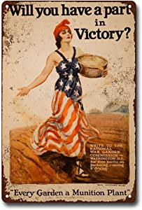 "victory garden wwi poster 8""X12"" Vintage Military Sign Metal Plaque Decor Sign Home Man Cave Decor Metal Tin Sign Wall Decor Sign JtS-26"