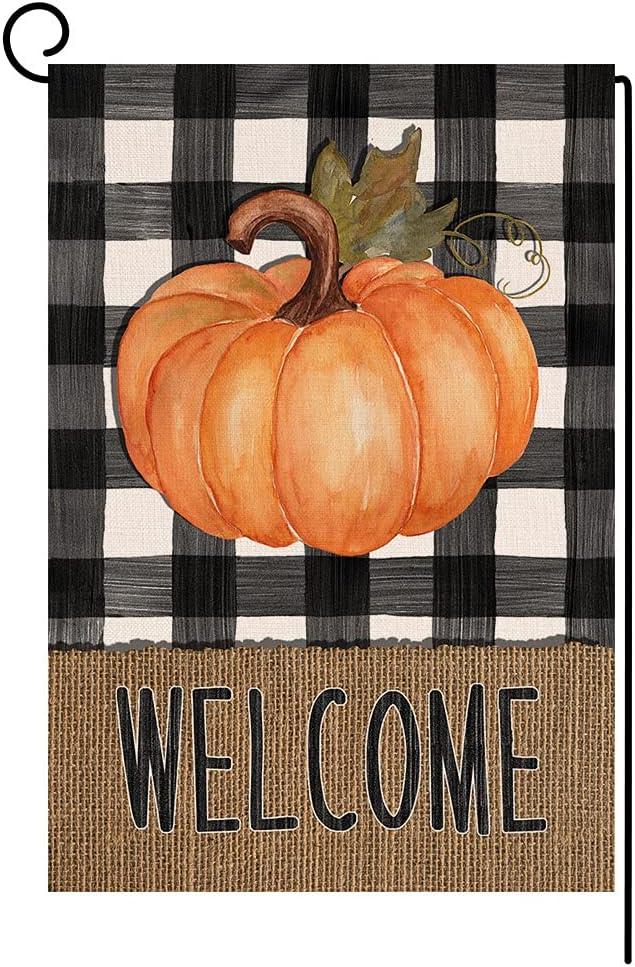 BLKWHT Welcome Fall Pumpkin Garden Flag Vertical Double Sided Thanksgiving Autumn Orange Buffalo Check Burlap Yard Outdoor Decor 12.5 x 18 Inches BW010