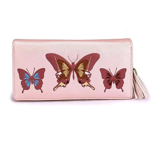 Xardi London Large Zip Around cartera de piel sintética diseño de mariposa mujeres Tarjeta Moneda Nota Carteras Rosa rosa: Amazon.es: Zapatos y complementos