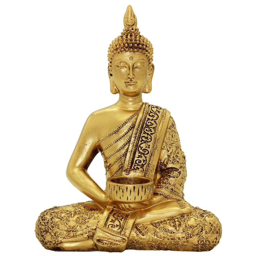 Resin Thai Buddha Statue Home Ornaments Wealth Lucky Figurine BS120 by Brass Statu