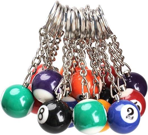 Llavero - TOOGOO(R)16x Llavero de bola de billar Anillo de llave ...