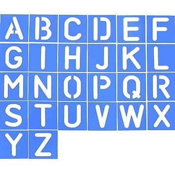 26 Piezas Plantilla de Letra de Plástico Plantilla de Alfabeto Set para Pintura Aprendizaje Bricolaje, Azul: Amazon.es: Hogar