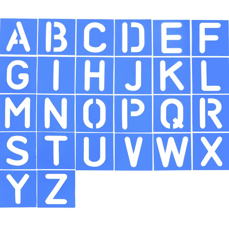 4 Pieces Craft Stencil Set Letters Alphabet Stencils Number Craft Ruler Decorative Lettering Guide Set Blue