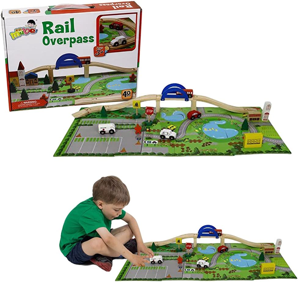 Toy Cubby Kids Toddler Puzzle Mat Wooden Vehicle and Houses Mountain Set with Bridge