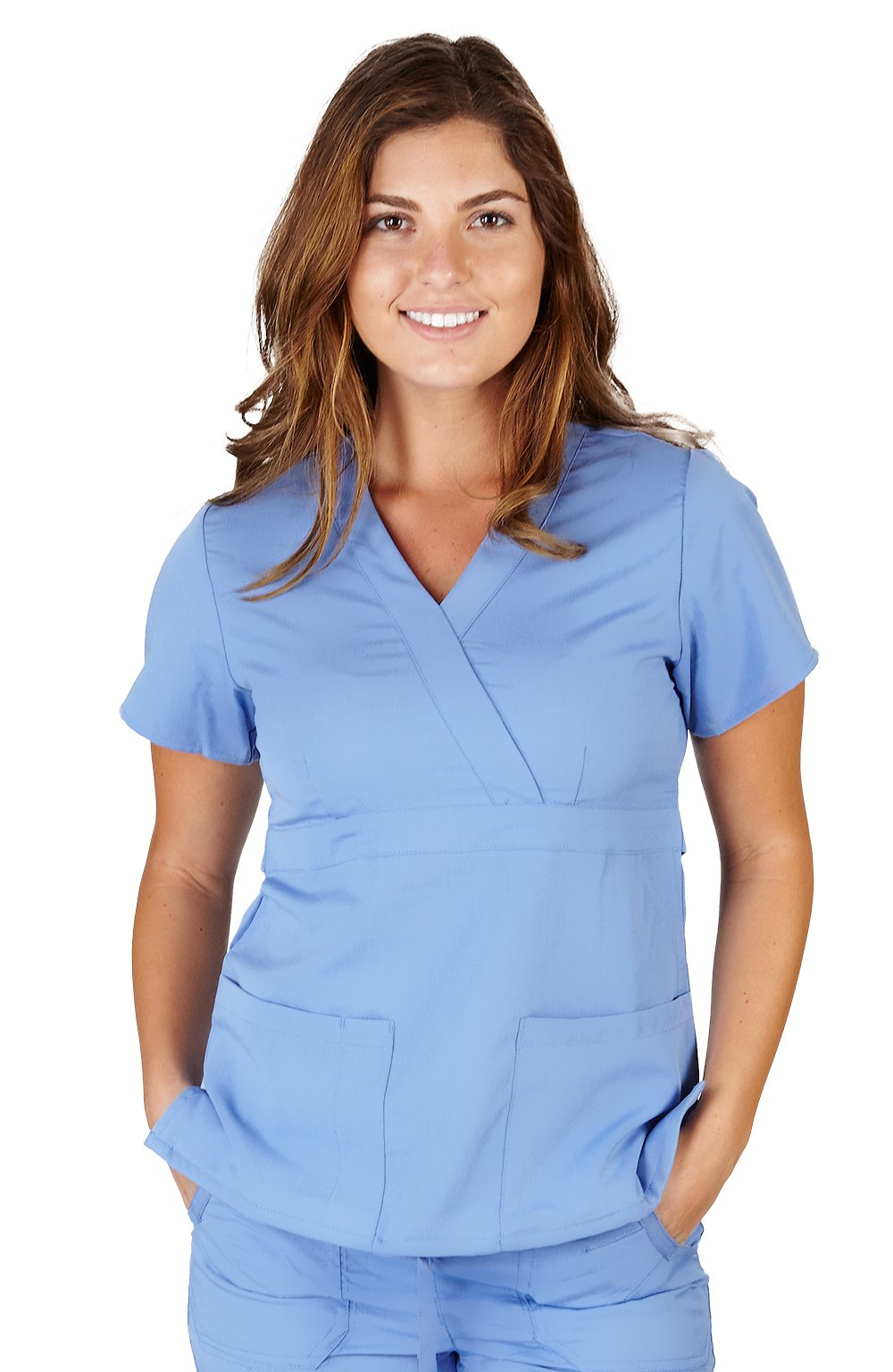 Ultra Soft Brand Scrubs - Premium Womens Junior Fit 3 Pocket Mock Wrap Scrub Top, Ceil Blue 36143-Large