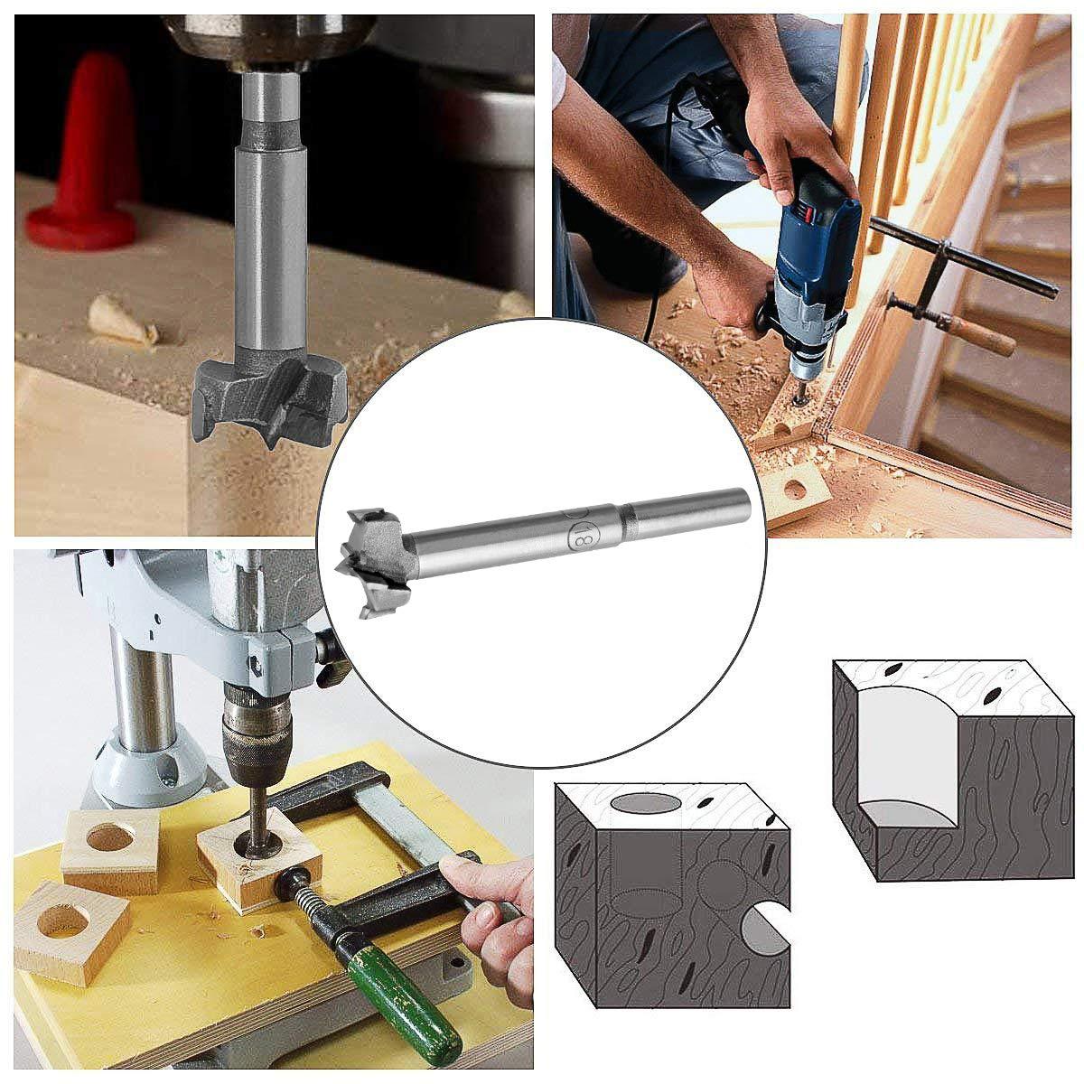 Carbide Forstner Bits Flat Wing Drilling Hole Hinge Woodworking Hole Drill Bit WEAVERBIRD Forstner Drill Bit 15mm 1 Piece