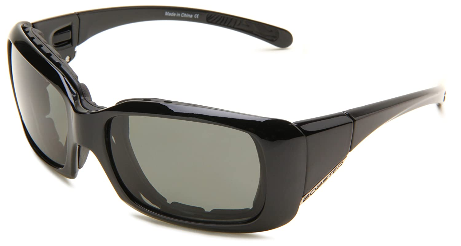 Bobster Ava Convertible Polarized Rectangular Sunglasses, Black Frame/Smoked Lens, One Size