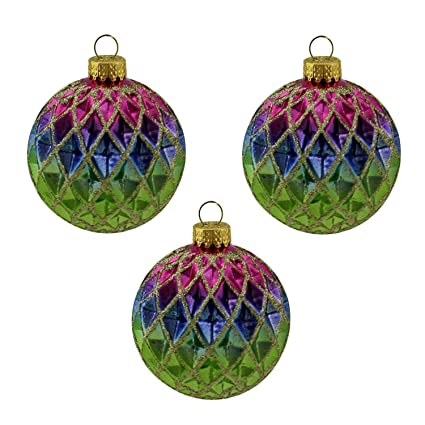 3ct green blue purple and gold diamond design glass ball christmas ornaments 25