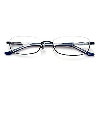 fd0d82477545 Komehachi - Rectangle Round Semi Under Rim Clear Lens Prescription  Eyeglasses (Blue(Rectangle