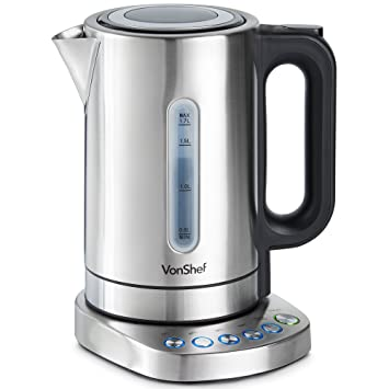 57c750e4ba8 VonShef 1.7L Variable Temperature Kettle - Control Panel Base Electric  Kettle with Window Gauge