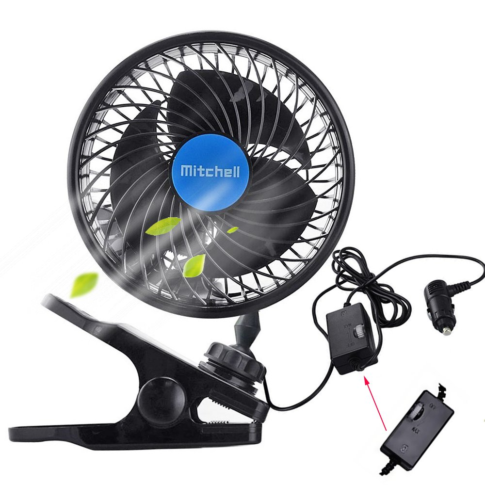 Car Clip Fan,Multi-Angle Electric Cooling Quiet Speedless Car Fans with Clip Cigarette Lighter Plug for for Cars, Trucks, and RV's