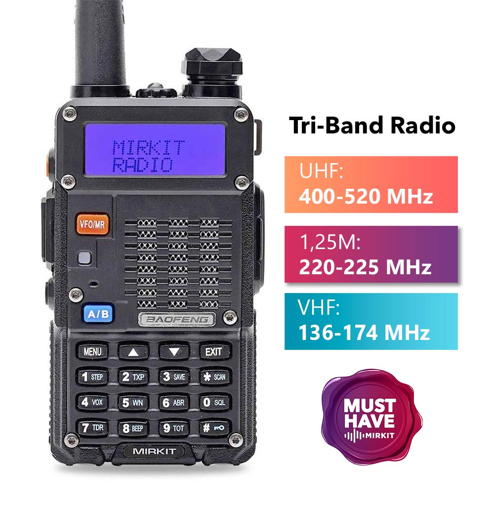 Mirkit x Baofeng Radio UV-5R MK3X 5W Power 2019 2100 mAh Li-ion Battery, Tri-Band Radio VHF, 1.25M, UHF, Mirkit Edition and Neck Strap Lanyard Mirkit Ham Radio Operator by Mirkit