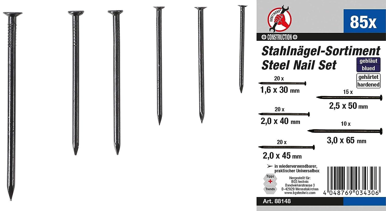 Stahln/ägel-Sortiment Kraftmann 88148 85-tlg.