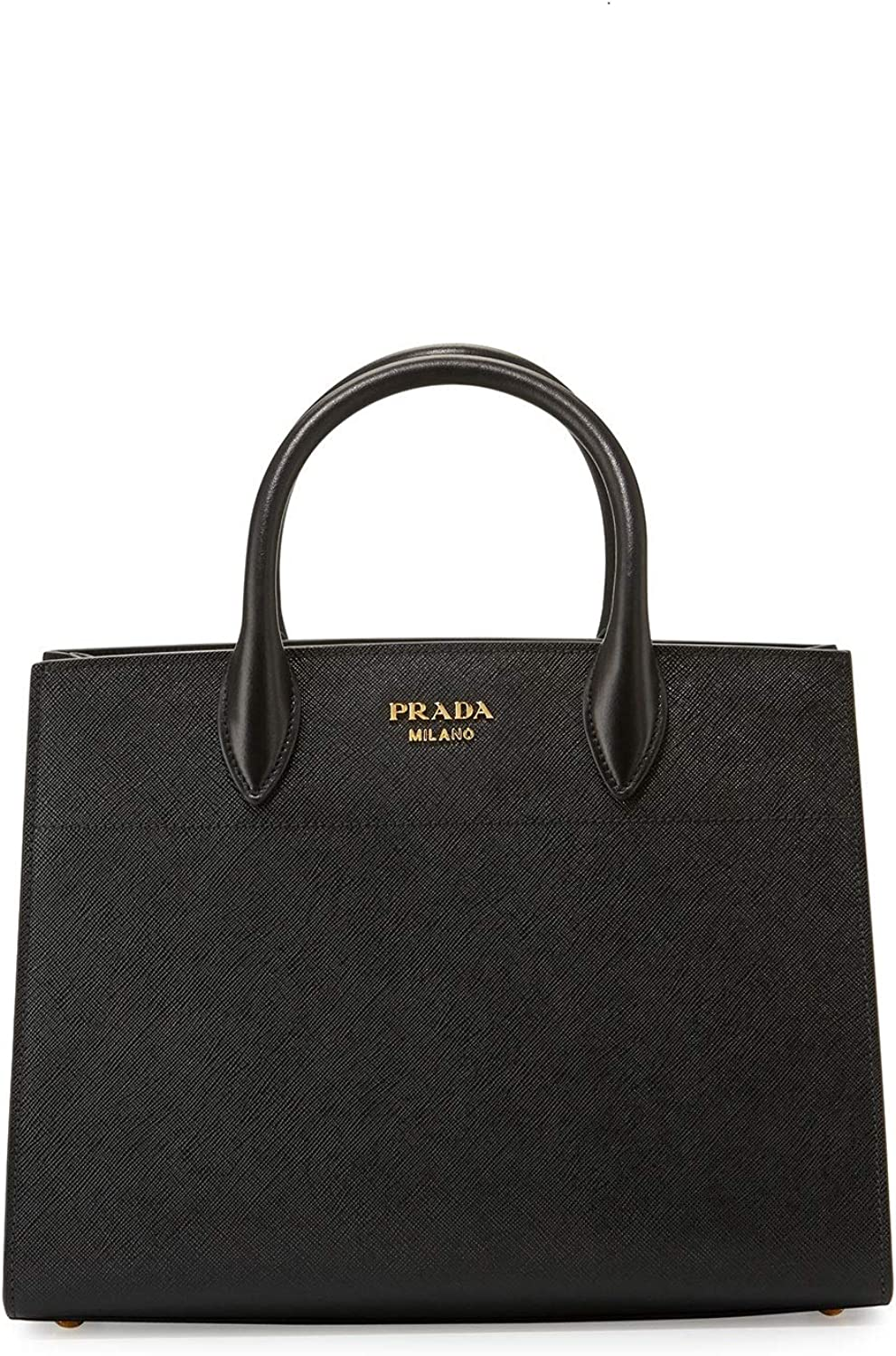Prada Bibliothèque Tote Saffiano City Leather Black and White Handbag 1BA049