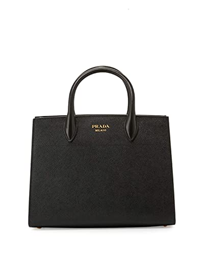 8a13779f59fe1 Prada Bibliothèque Tote Saffiano City Leather Black and White Handbag  1BA049  Handbags  Amazon.com