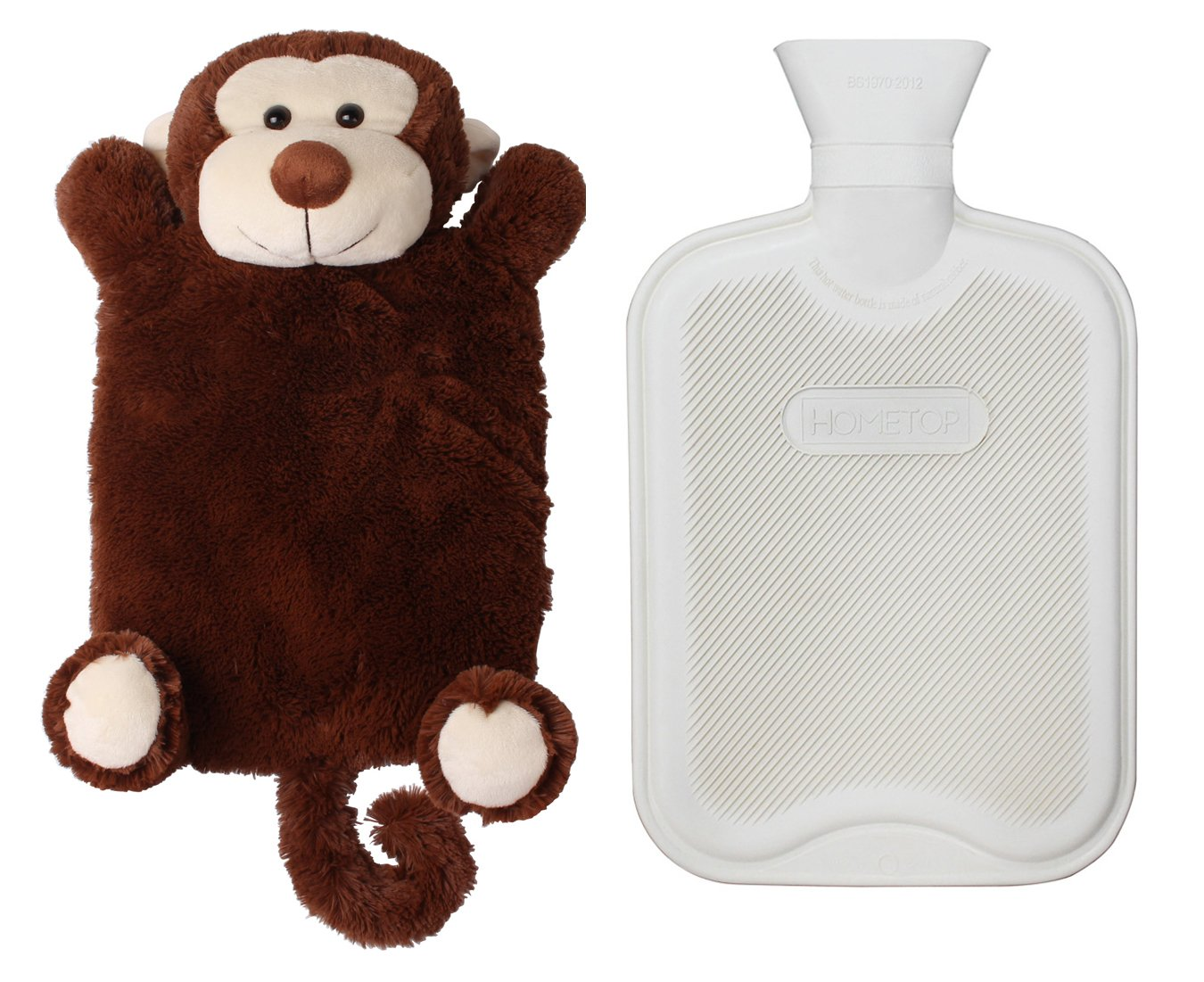 HomeTop Premium Classic Rubber Hot or Cold Water Bottle with Cute Stuffed Animal Cover (2 Liters, Brown Monkey) by HomeTop
