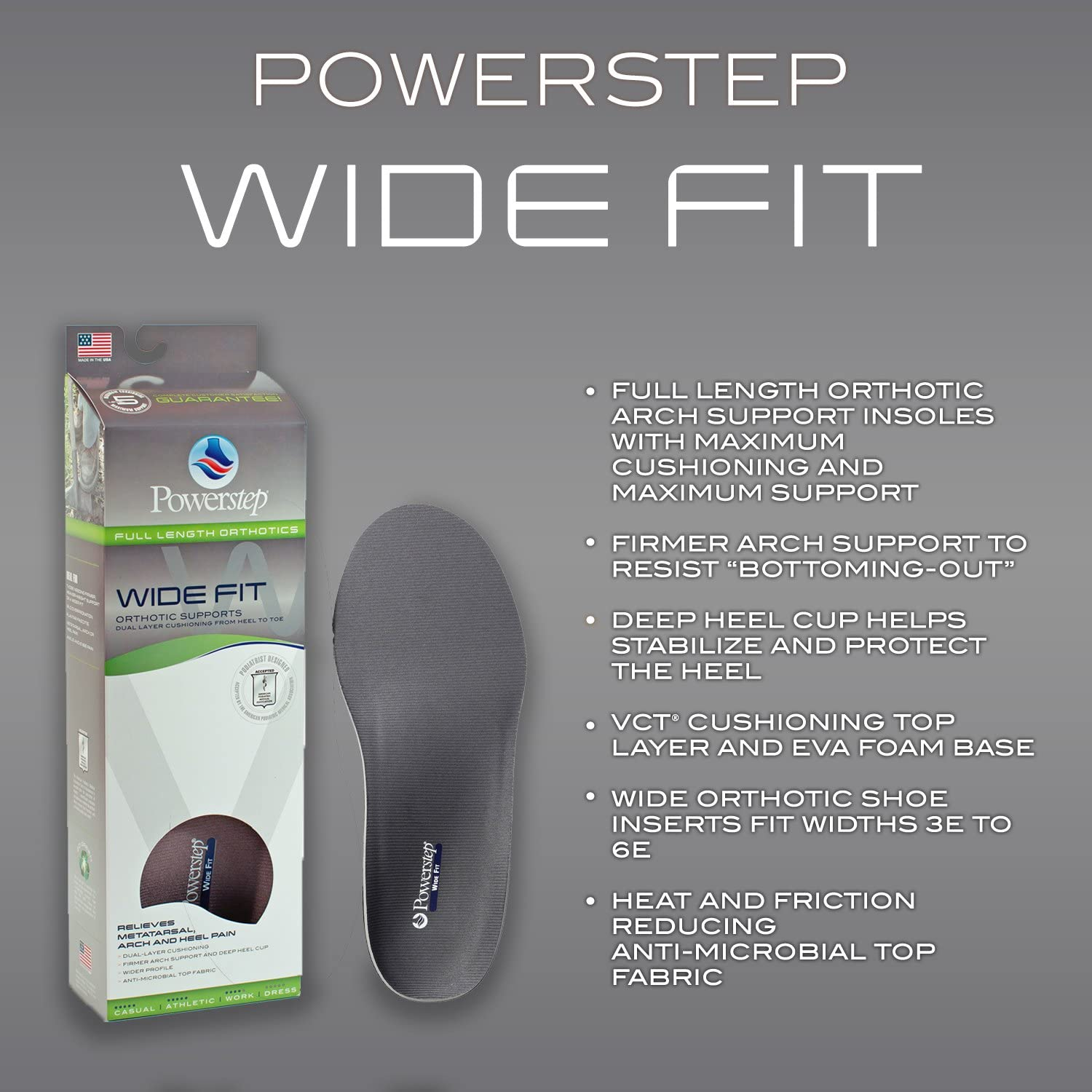 3E-6E Powerstep Wide Fit Orthotics All Sizes All Colors