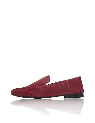 353158ba5807 FIND Slipper Damen aus Leder mit flachem Blockabsatz, Rot (Burgundy), 36 EU