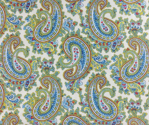 Lauren Ralph Lauren Sheet Set Cotton Blue Red Yellow Paisley Floral Pattern on White Background (Twin)