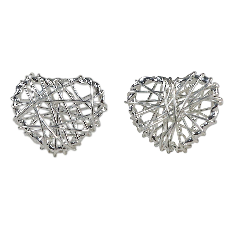 Amazon NOVICA 925 Sterling Silver Heart Shaped Earrings