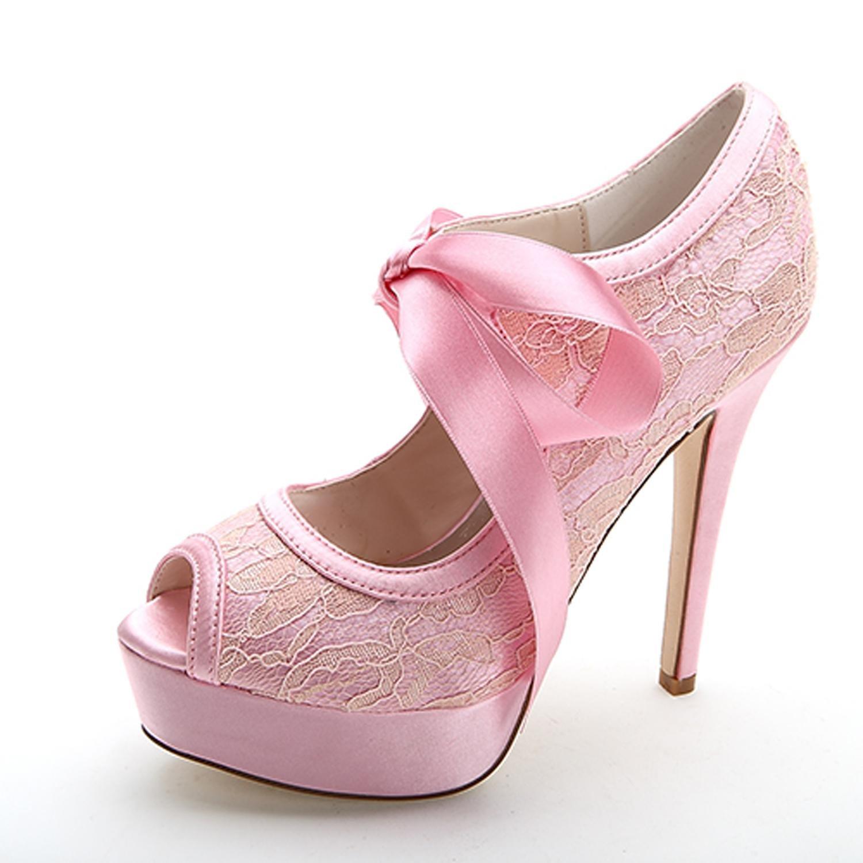 Elobaby Boda de Las Mujeres F3128-15 Punta Redonda Peep toesRibbon Tie Satén Boda Tacones Altos Zapatos de Novia 40 EU|Pink